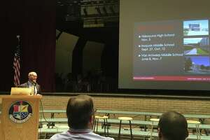 Niskayuna School Superintendent Cosimo Tangorra gives a presentation on Monday Nov. 19, 2018, at Niskayuna High School about school safety in response to parent questions after a string of lockdowns at district schools.