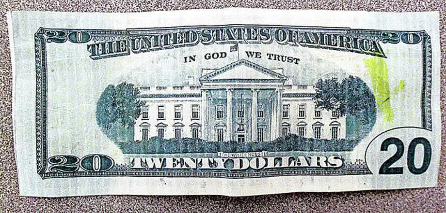 A counterfeit $20 recently confiscated by the Calhoun County Sheriff's Office in Hardin. Photo: Calhoun County Sheriff's Office Facebook Page