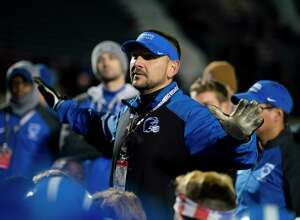 Shaker head coach Greg Sheeler addresses his team after the Class AA semifinal game at Middletown High School in Middletown, New York, on Saturday, Nov. 17, 2018. New Rochelle defeated Shaker 27-19 to advance to the state championship game. (Ben Moffat/Special to the Times Union)