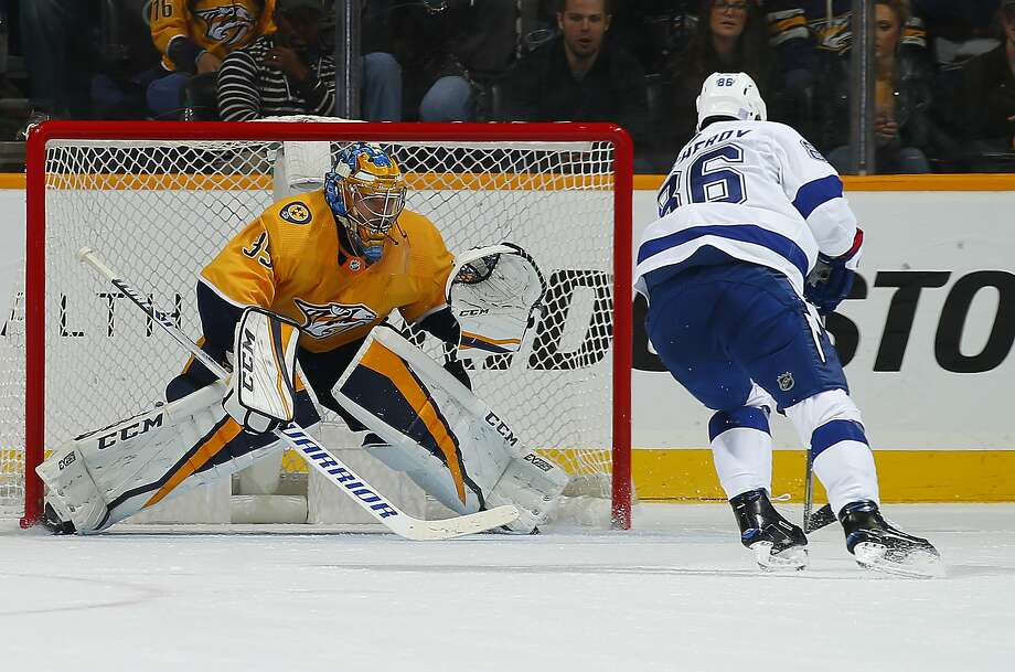 Predators goalie Pekka Rinne makes a save on a shot by Nikita Kucherov (86) of the Lightning. Rinne had 29 saves in the win. Photo: Frederick Breedon / Getty Images