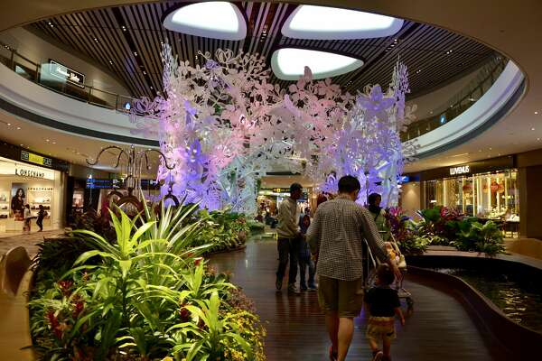 One of the many centerpieces of Terminal 4 is this garden and accompanying Koi Pond. The garden embraces Singapore's tropical climate, bringing some native species of plants indoors to quell the frayed nerves of hurried travelers.