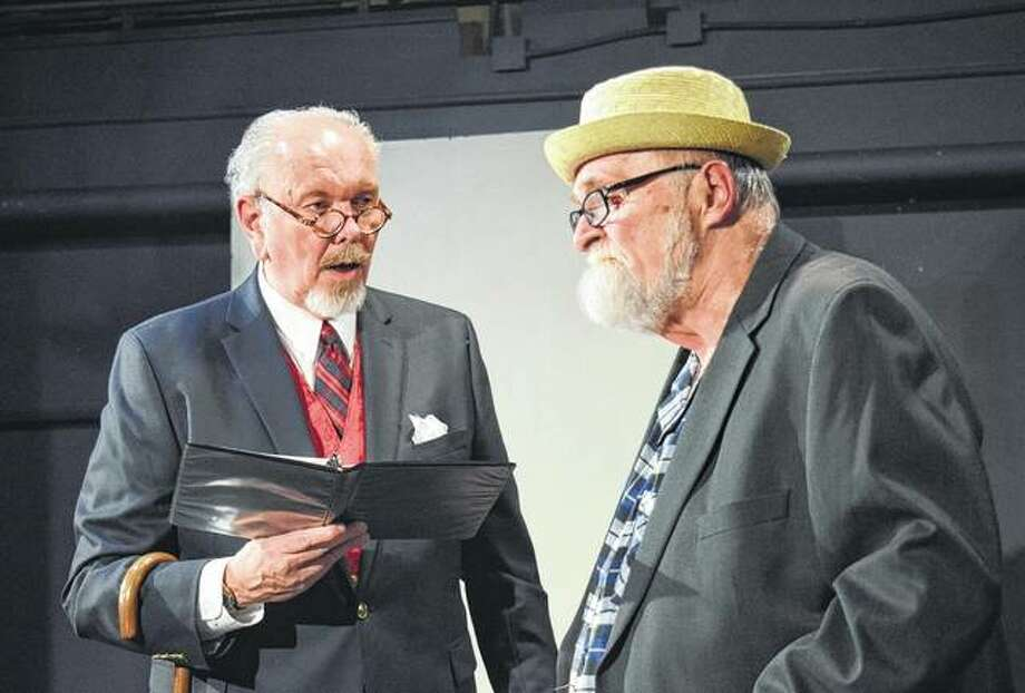 "Rich McCoy (left) and Ken Bradbury rehearse a scene in May at Playhouse on the Square. The two starred in a staged reading of the Neil Simon play ""The Sunshine Boys."" Photo: Journal-Courier"