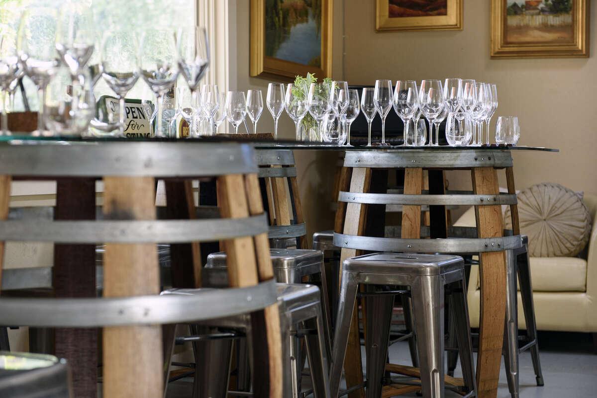 Wine barrels are used for tables at Paradise Ridge Winery's tasting room in Glen Ellen, California, on Saturday, November 17, 2018.
