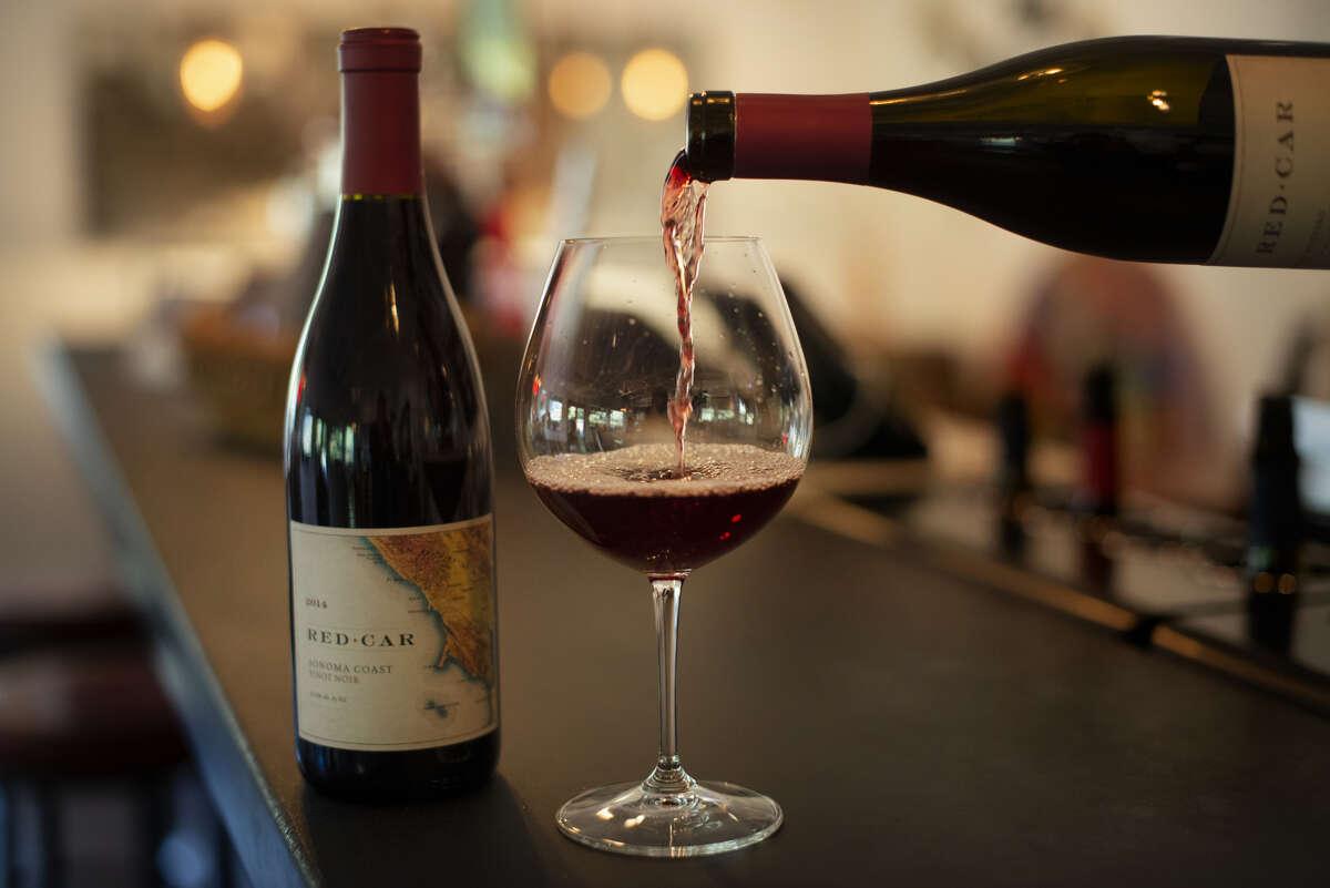 Sonoma Coast Pinot Noir being poured in the tasting room at Red Car Wine in Sebastopol, California. November 14, 2018.