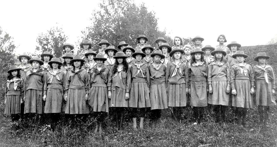 "New Milford Girl Scout Troop #2 poses for a photo by the Fuller Studio in 1921. Identification of the girls was unavailable; Girl Scouts from that year would be more than 100 years old today. If you have a ""Way Back"" when photograph you'd like to share, contact Deborah Rose at drose@newstimes.com or 860-355-7324. Photo: Contributed Photo / Contributed Photo / The News-Times Contributed"