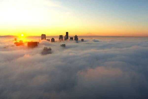 The National Weather Service tweeted this photo of fog hanging over Seattle on Tuesday morning.