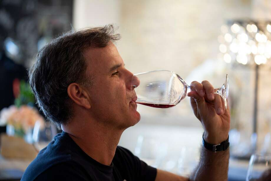 Jeremy Lampel, of Santa Cruz, tries the wines at the Albatross Ridge wine tasting room in Carmel. Photo: Patrick Tehan / Special To The Chronicle