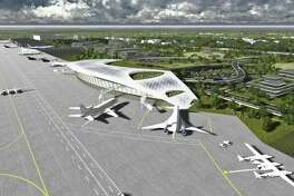An artist's rendering of the vision for the Houston Spaceport at Ellington Airport. The city of Houston's planning board has recommended that a proposed Ellington Bypass road project included in the city's transportation plan.