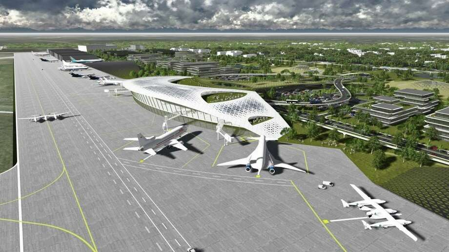 A recent ground-breaking ceremony marked the start of work to establish infrastructure for the Houston Spaceport at Ellington Airport. Could the facility eventually become something like in this artist's rendering? Photo: SUBMITTED PHOTO / Internal