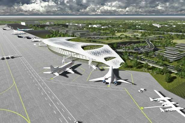 A recent ground-breaking ceremony marked the start of work to establish infrastructure for the Houston Spaceport at Ellington Airport. Could the facility eventually become something like in this artist's rendering?