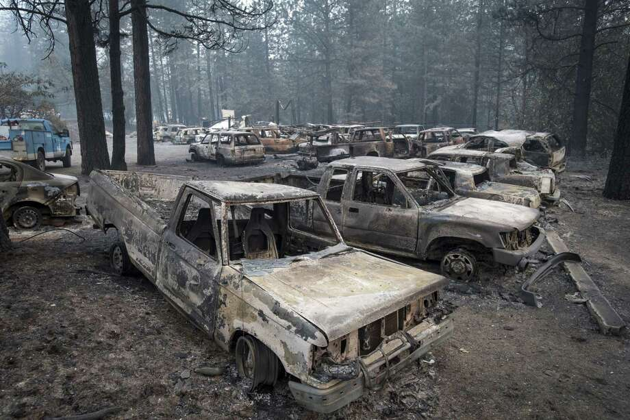 Burned-out vehicles stand in Paradise, California, on Nov. 15, 2018. Photo: David Paul Morris/Bloomberg / Bloomberg