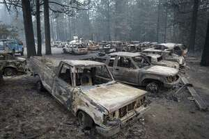Burned-out vehicles stand in Paradise, California, on Nov. 15, 2018.