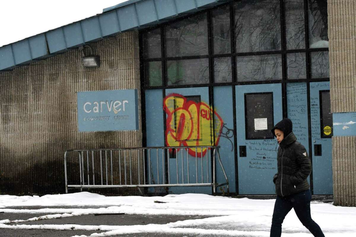 Exterior of the former Carver Community Center building on Tuesday, Nov. 20, 2018, in Schenectady, N.Y. Plans to renovate the dilapidated community center will kick into high gear next week when several members the non-profit group Miracle on Craig Street, along with city workers, will clean up the building.(Will Waldron/Times Union)