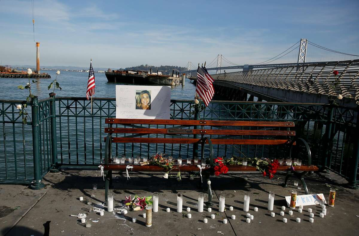 A memorial for Kate Steinle is seen at Pier 14 on Friday, December 1, 2017 in San Francisco, Calif. Much of the shrine appeared to have been started by a self-proclaimed