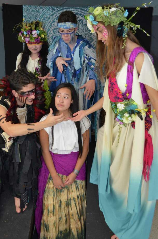 "From left, ""Once on This Island"" cast members include Ciro Falanga (Clinton) as Papa Ge, God of Death, Maddy Wines (Madison) as Asaka, Mother of the Earth, Tyler Eveland (Guilford) as Agwe, God of Water, Sara Gaetano (Clinton) as Erzulie Goddess of Love; Center front Kaiya Colquhoun (Essex) as Ti Moune. Photo: Contributed Photo /"