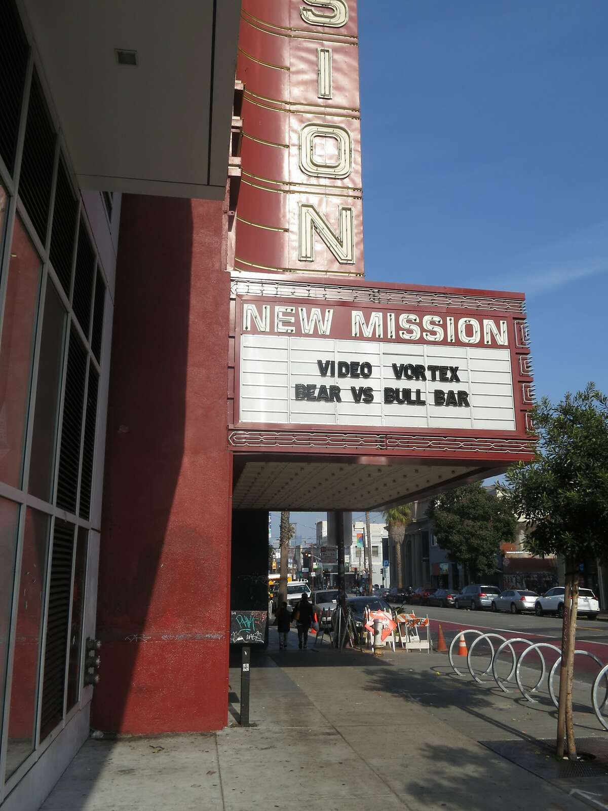 FILE - The marquee of the New Mission, now Alamo Drafthouse's San Francisco theater, advertises the new Video Vortex rental store on Tuesday, Nov. 20, in San Francisco, Calif. The theater was forced to evacuate its premises on Sunday afternoon due to an electrical fire.