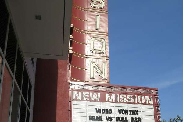 The marquee of the New Mission, now Alamo Drafthouse's San Francisco theater, advertises the new Video Vortex rental store on Tuesday, Nov. 20, in San Francisco, Calif.