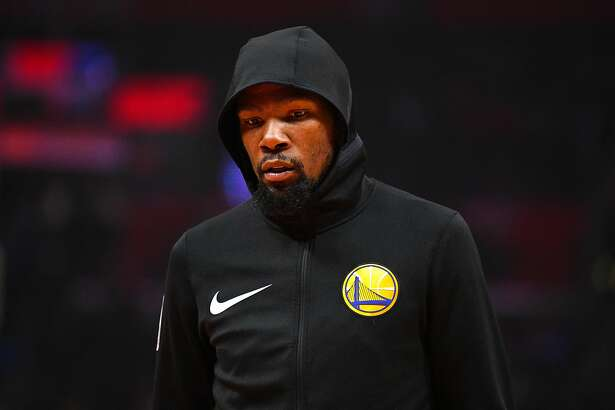 LOS ANGELES, CA - NOVEMBER 12: Golden State Warriors Forward Kevin Durant (35) looks on before a NBA game between the Golden State Warriors and the Los Angeles Clippers on November 12, 2018 at STAPLES Center in Los Angeles, CA. (Photo by Brian Rothmuller/Icon Sportswire via Getty Images)