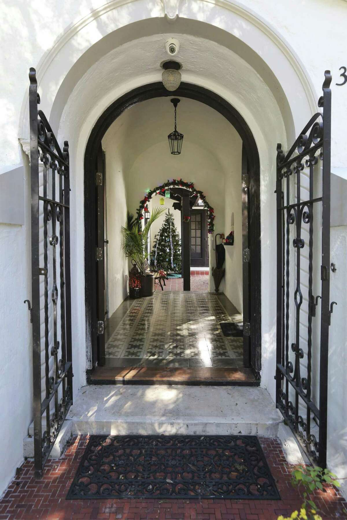 View of the main entrance to the home. Zappala and Williamson worked eight hours a day, five to six days a week for about 18 months to complete the renovation of the three bedroom, two bath Mediterranean-style house.
