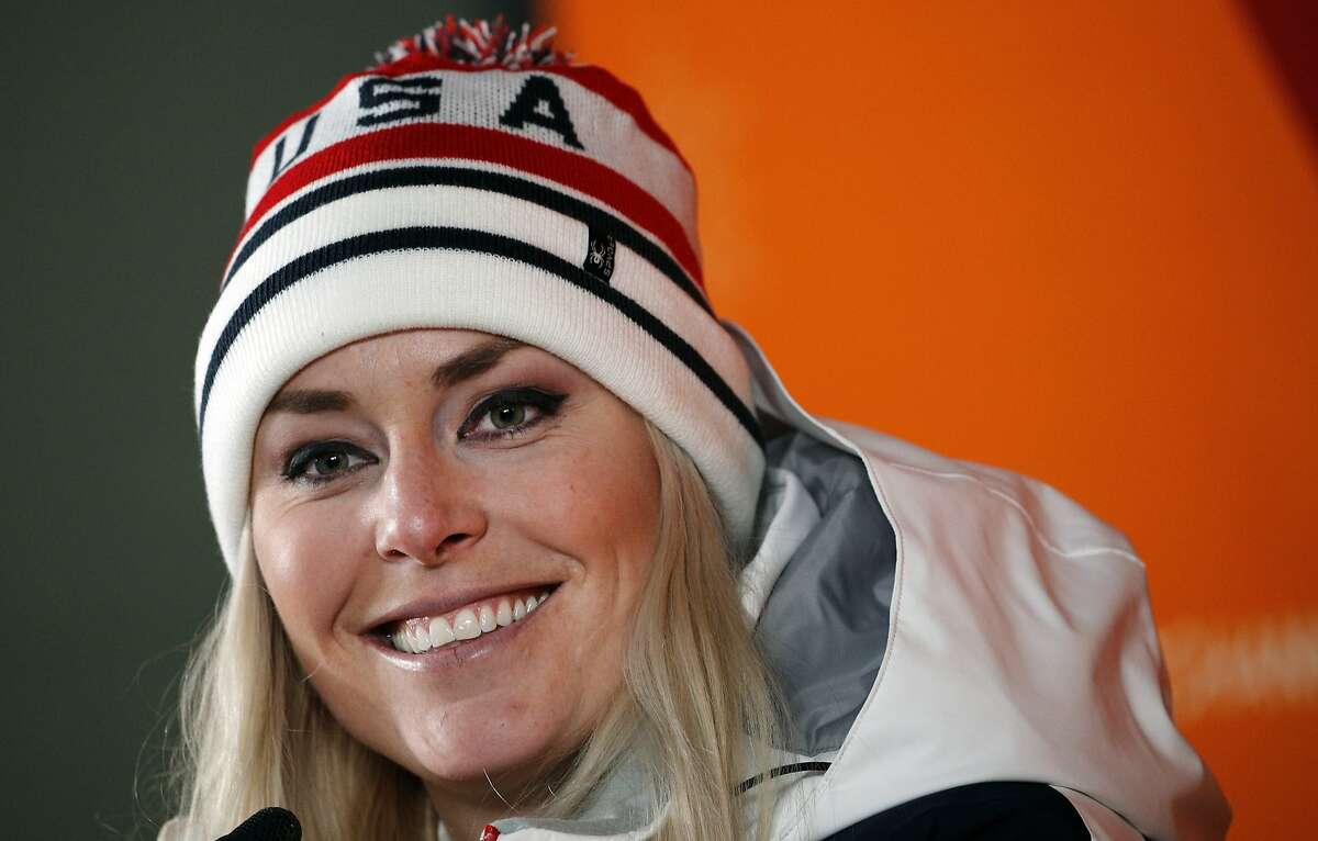 FILE - In this Feb. 21, 2018, file photo, United States' Lindsey Vonn speaks at a press conference after winning the bronze medal in the women's downhill skiing event at the 2018 Winter Olympics in Jeongseon, South Korea. Vonn will begin her season and her quest to become the all-time winningest ski racer in a few weeks in Lake Louise, Alberta, where she's won so many times. She's trying to enjoy the moment and not think too much about breaking Ingemar Stenmark's hallowed mark of 86 World Cup wins. (AP Photo/Christophe Ena, File)
