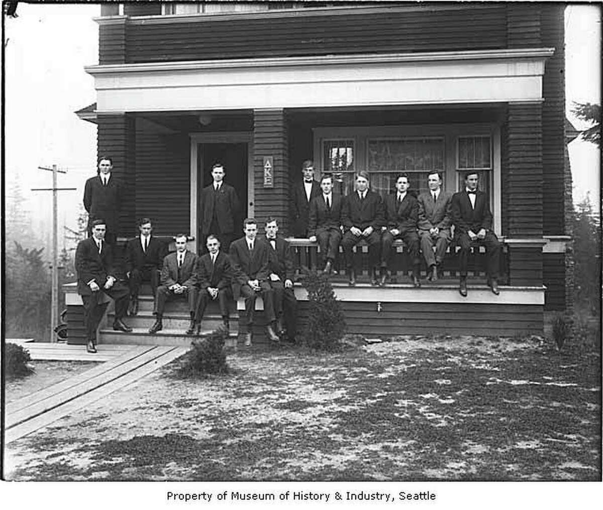 Delta Kappa Epsilon fraternity members outside their house, University of Washington, Seattle, 1915. Several fraternities built substantial, ambitious houses in the newly established tract north of the University called Greek Row. The Delta Kappa Epsilon house was constructed in 1914 at 5224 19th Avenue NE.