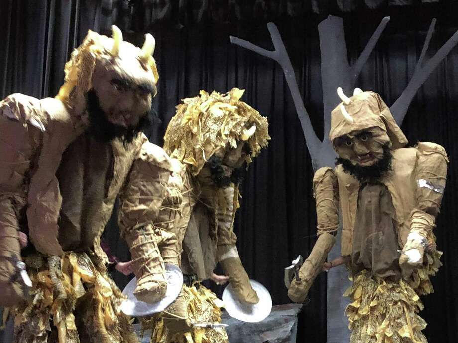 "Students from Torrington High School theater are staging Qui Nguyes ""She Kills Monsters- Young Adventurers Edition,"" in the Little Theatre, Nov.30 and Dec. 1. Above, three of victor Leger's Bugbear creations, worn by Dierdre Noyce, Tabith Langer, and Danny Brown. Photo: Torrington High School / Contributed Photo /"