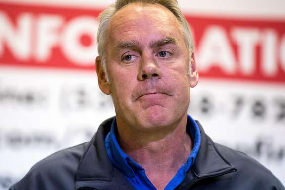 U.S. Secretary of the Interior Ryan Zinke joins Cal Fire, FEMA and Cal OES officials during a press conference at the Silver Dollar Fairgrounds in Chico, Calif. Wednesday, Nov. 14, 2018.