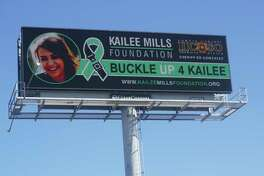 """The """"Buckle Up 4 Kailee""""billboardcampaign, which debuted Nov. 20, is the work of four groups including The Kailee Mills Foundation, the Outdoor Advertising Association of Texas, Harris County's Sheriff Office and Clear Channel Outdoor Americas."""