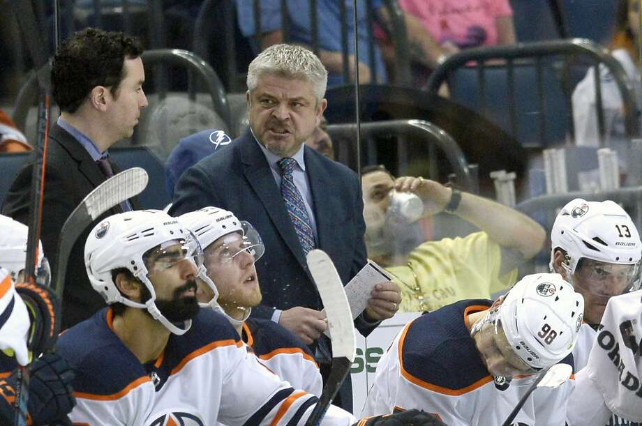 The Oilers fired former Sharks head coach Todd McLellan. The Oilers are 9-10-1 this season, and only two teams in the Western Conference have fewer points than does Edmonton. Photo: Jason Behnken / Associated Press
