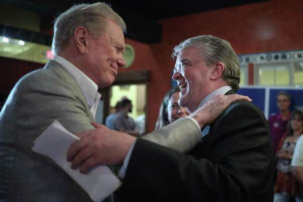 Republican U.S. Rep. John Culberson greets his pastor, Ed Young, after giving his concession speech at an election night party on Nov. 6, 2018 in Houston. Culberson, the incumbent, came up short in his bid for re-election to represent the 7th Congressional District against Democratic challenger Lizzie Pannill Fletcher.