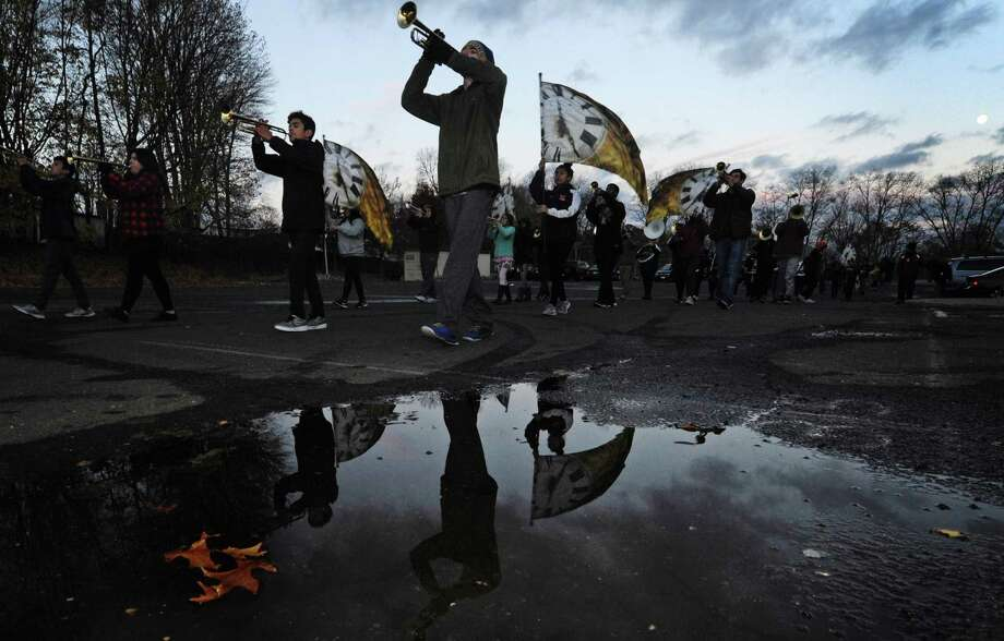The Brien McMahon High School Marching Band practices Tuesday, November 20, 2018, for their upcoming performance in the Philadelphia Thanksgiving Day Parade while at the school in Norwalk, Conn. Photo: Erik Trautmann / Hearst Connecticut Media / Norwalk Hour