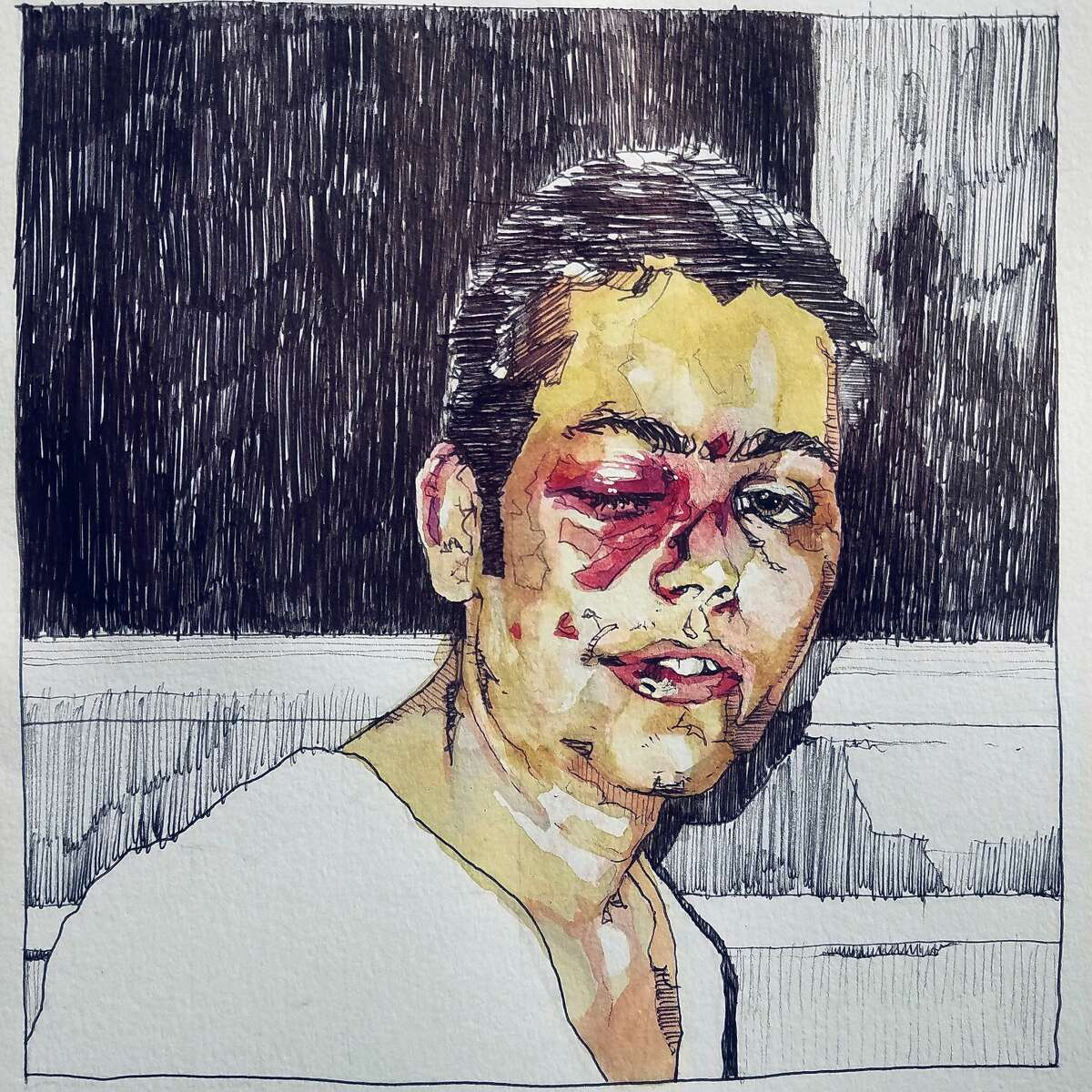 """""""Incident"""" by Miha Sarani, the only piece in his new series """"But Bearing in Mind"""" that does not draw from photographs of war crimes in World War II era Yugoslavia. Sarani used his own experience of being attacked by skinheads in Slovenia to try to connect with the victims for his series."""