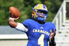 University of New Haven quarterback Ajee Patterson,