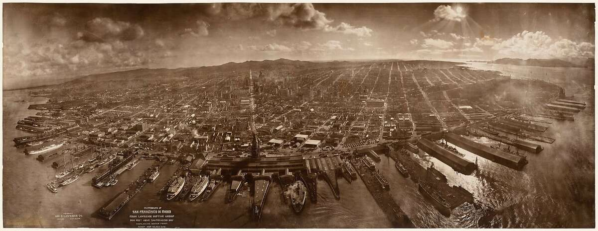 """""""San Francisco in Ruins,"""" a photograph taken from kites in 1906, is among the works in California Historical Society exhibition """"Boomtowns: How Photography Shaped Los Angeles and San Francisco."""""""