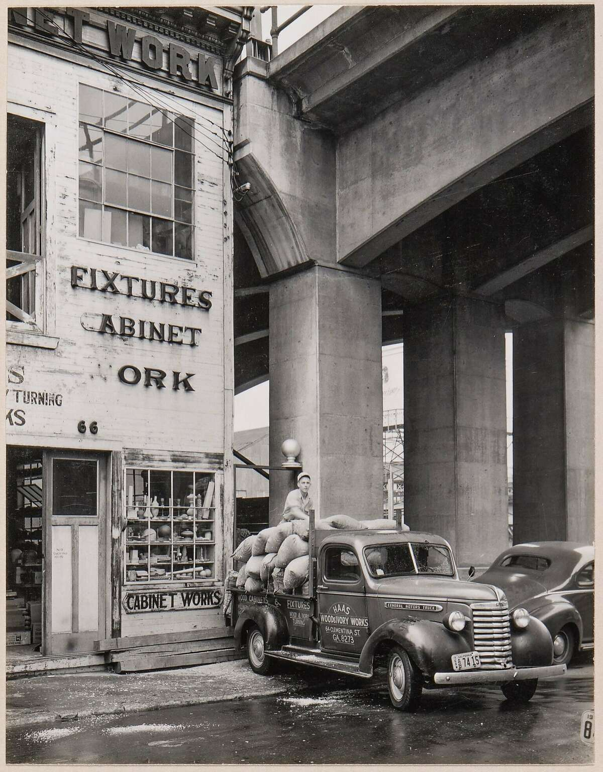 """""""Haas Wood and Ivory Turning Works, 64 Clementina St.,"""" a photograph by Minor White, is among the works in California Historical Society exhibition """"Boomtowns: How Photography Shaped Los Angeles and San Francisco."""""""