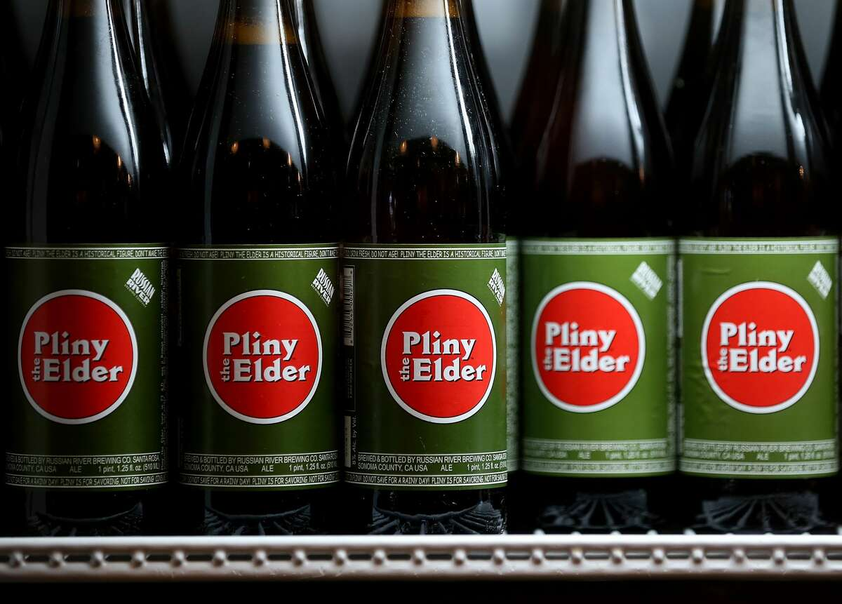 Bottles of Russian River Brewing Company Pliny the Elder beer sit in a cooler at Russian River Brewing Company on Feb. 7, 2014 in Santa Rosa, Calif.