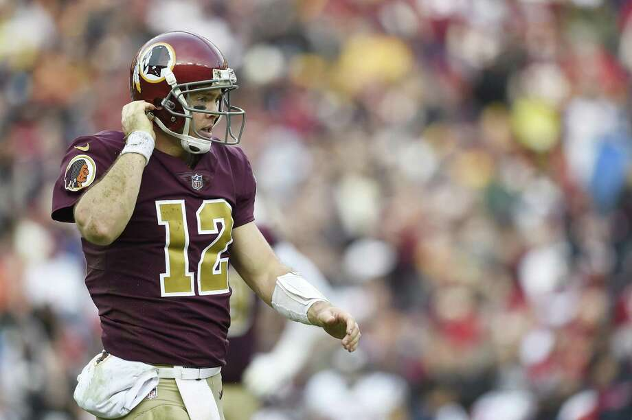 LANDOVER, MD - NOVEMBER 18: Colt McCoy #12 of the Washington Redskins walks to the sideline in the fourth quarter against the Houston Texans at FedExField on November 18, 2018 in Landover, Maryland. (Photo by Patrick McDermott/Getty Images) Photo: Patrick McDermott, Stringer / Getty Images / 2018 Getty Images