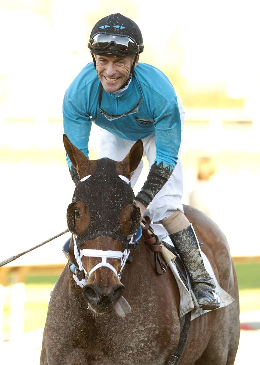 Jockey Gary Stevens smiles aboard Heir Kitty in 2013 at Santa Anita Park in Arcadia, Calif. (AP Photo/Benoit Photo