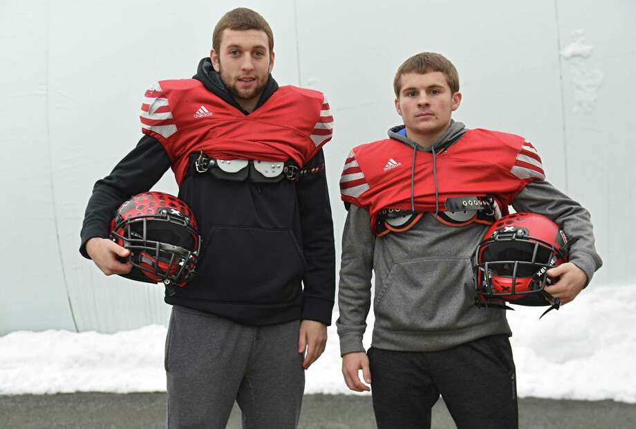 Cousins Connor, left, and Trent Girard at football practice with the Glens Falls football team on Tuesday, Nov. 20, 2018 in Glens Falls, N.Y. Noah was absent from photo. (Lori Van Buren/Times Union) Photo: Lori Van Buren / 20045517A