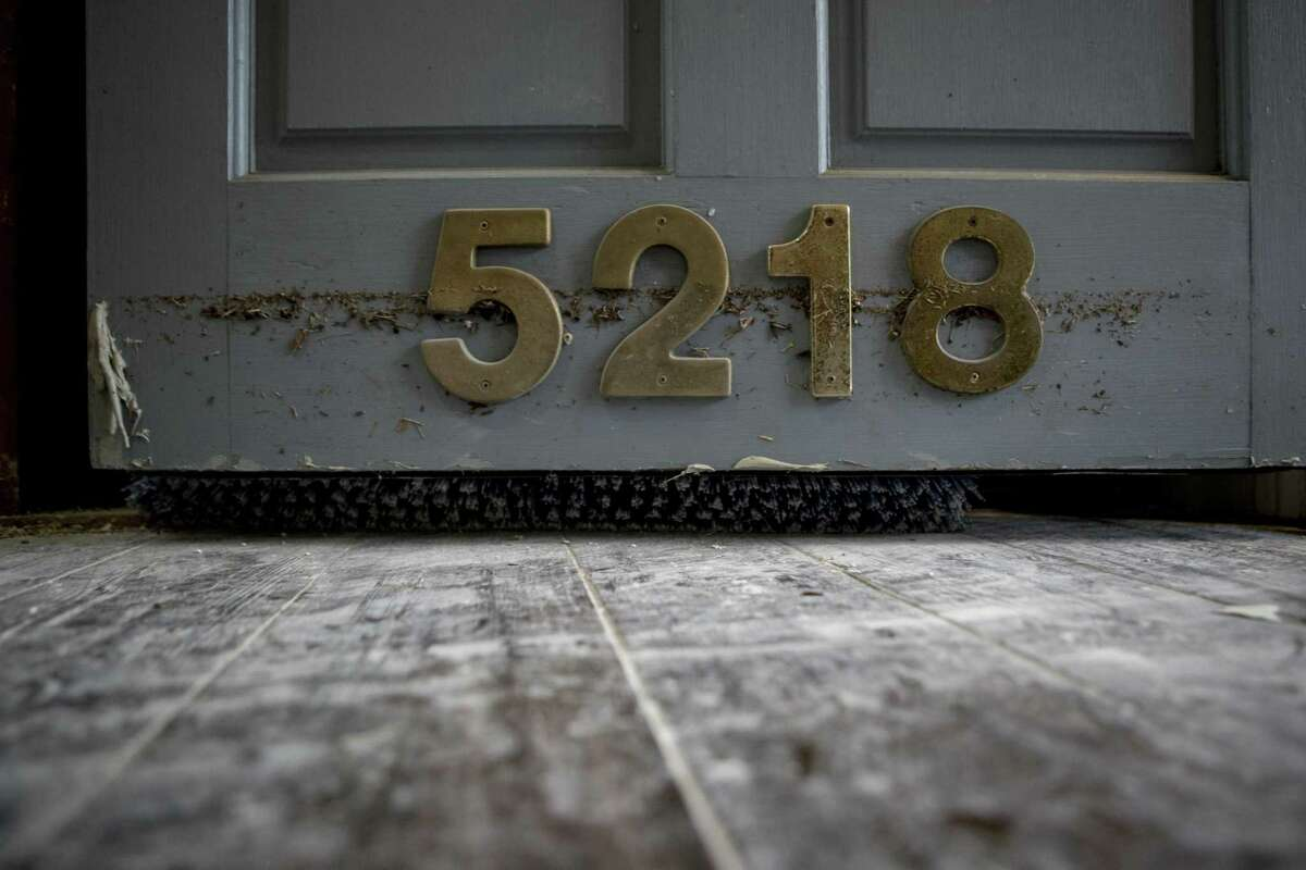 A water line is shown on a doorway during restoration of a Meyerland area home, that was flooded in the aftermath of Hurricane Harvey, on Thursday, Sept. 21, 2017, in Houston.