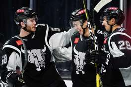 The Rockford IceHogs play the San Antonio Rampage during the second period of an AHL hockey game, Tuesday, Nov. 20, 2018, at the AT&T Center in San Antonio, Texas. (Darren Abate/AHL)