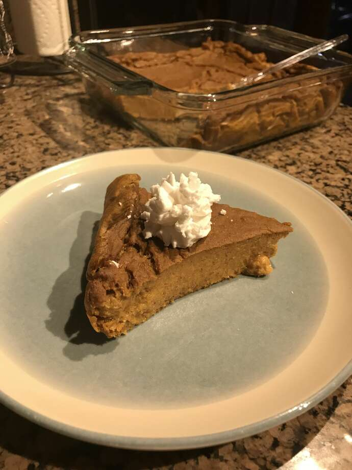 Marcy Madrid prepared a plant-based pumpkin pie Monday at her Midland County home. The recipe uses some traditional ingredients and replaces others with whole-wheat pastry flour, nondairy milk and tofu.  Photo: Courtesy Photo