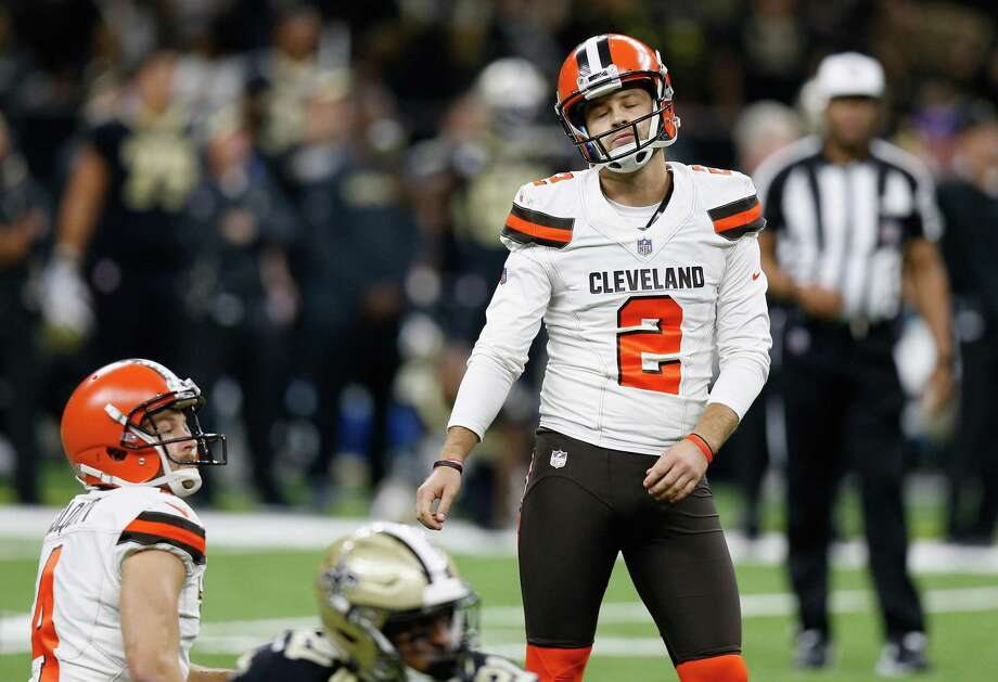 NEW ORLEANS, LA - SEPTEMBER 16: Zane Gonzalez #2 of the Cleveland Browns reacts after missing a field goal kick during the fourth quarter against the New Orleans Saints at Mercedes-Benz Superdome on September 16, 2018 in New Orleans, Louisiana. (Photo by Jonathan Bachman/Getty Images) Photo: Jonathan Bachman, Stringer / Getty Images / 2018 Getty Images