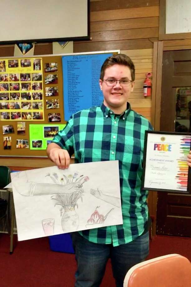 Michael Rice, a 9th grade student from Meridian, hastaken the first steps to becoming an internationally recognized artist by winning a local competition sponsored by the Coleman Lions Club. (Photo provided)