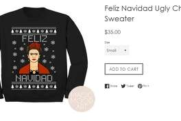 California-based company Magic Mood Art is offering Selena and Frida Khalo sweaters for Christmas. The Selena sweater already sold out once.