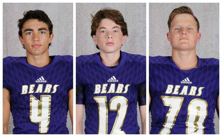 Luke Loera, Nate Colborn and Tyler Holliday are all members of the Montgomery football program, and all three are ranked in the top 10 of their senior class academically. Photo: Submitted
