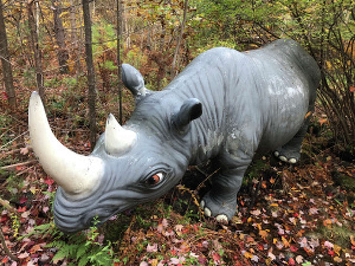 A statue of a rhinoceros is among the items for sale from the Magic Forest in Lake George.