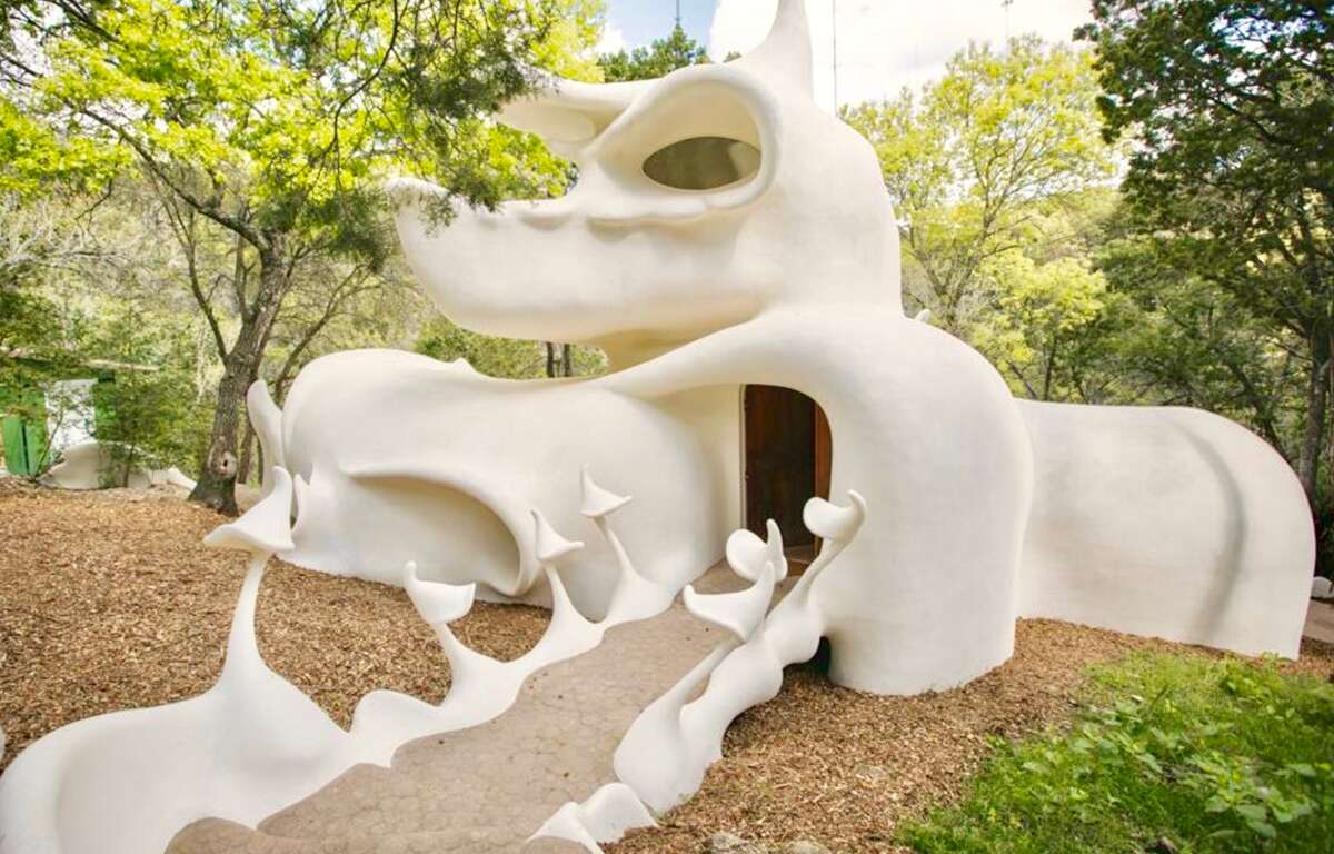 There's no shortage of ways to describe the curious house since its mushroom-like figure is a 3-D Rorschach test that can take on any shape a renter might see. Originally dreamed up and erected - over the course of 11 years - in the '70s by University of Texas students Dalton Bloom and Charles Harker, the structure is built for more than its aesthetic appeal: it's also been constructed with environmental care in mind.