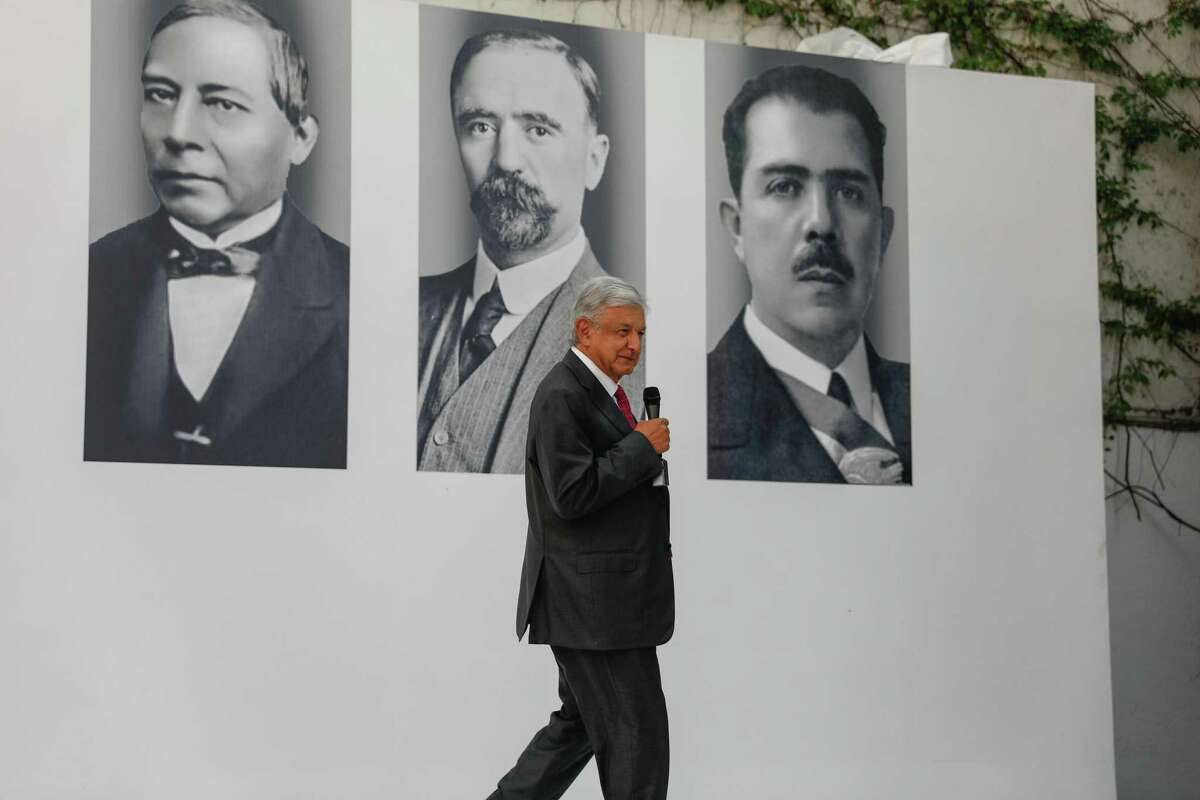 Andres Manuel Lopez Obrador, Mexico's president-elect, at press conference in Mexico City.