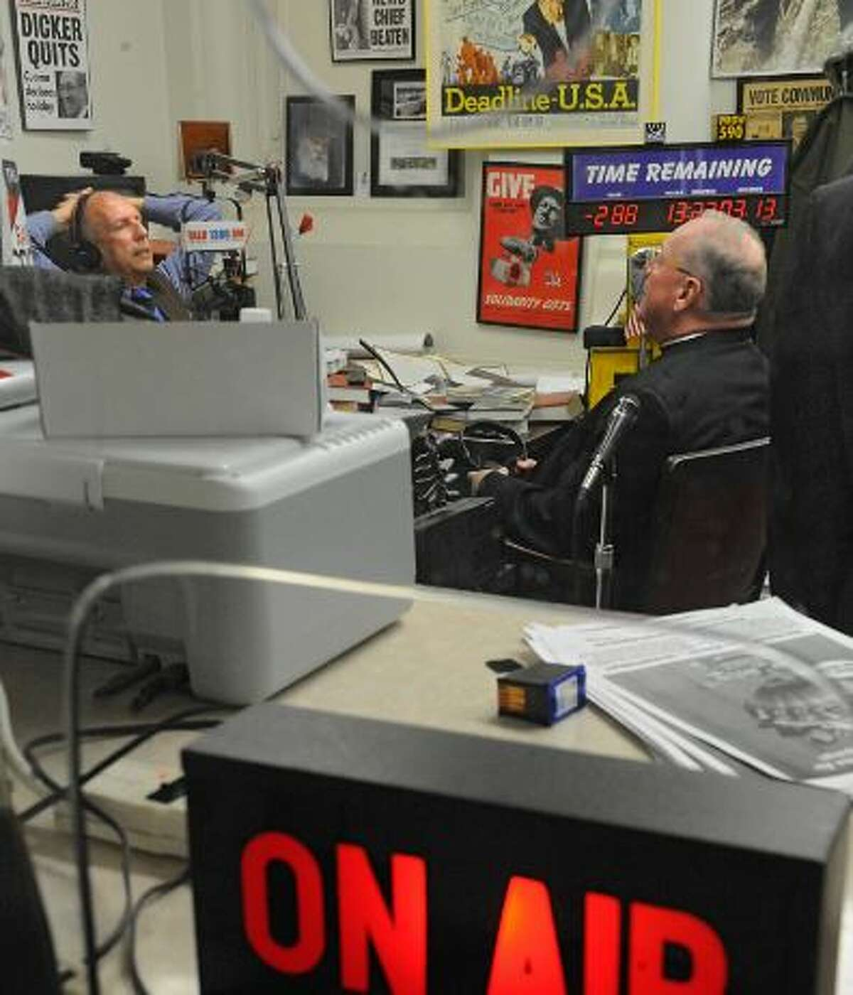 New York Post reporter Fred Dicker, left, interviews Cardinal Archbishop Timothy Dolan in the New York Post bureau office at the Capitol on Tuesday, March 18, 2014 in Albany, N.Y.